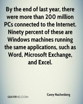 By the end of last year, there were more than 200 million PCs connected to the Internet. Ninety percent of these are Windows machines running the same applications, such as Word, Microsoft Exchange, and Excel.