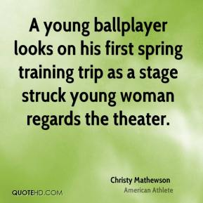 Christy Mathewson - A young ballplayer looks on his first spring training trip as a stage struck young woman regards the theater.
