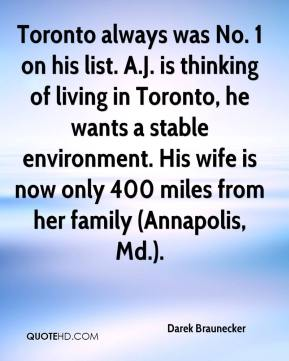 Toronto always was No. 1 on his list. A.J. is thinking of living in Toronto, he wants a stable environment. His wife is now only 400 miles from her family (Annapolis, Md.).