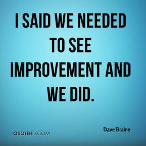 Dave Braine - I said we needed to see improvement and we did.