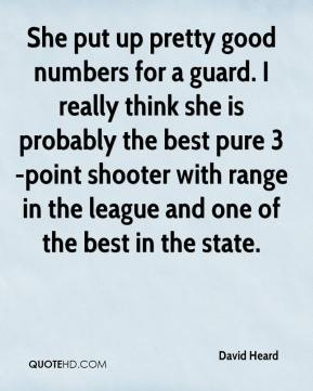 She put up pretty good numbers for a guard. I really think she is probably the best pure 3-point shooter with range in the league and one of the best in the state.
