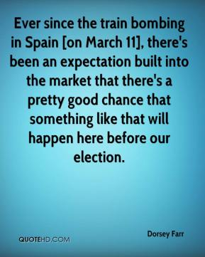 Dorsey Farr - Ever since the train bombing in Spain [on March 11], there's been an expectation built into the market that there's a pretty good chance that something like that will happen here before our election.
