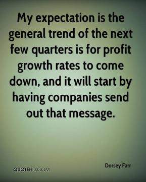 Dorsey Farr - My expectation is the general trend of the next few quarters is for profit growth rates to come down, and it will start by having companies send out that message.
