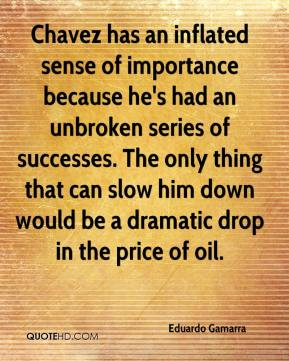 Eduardo Gamarra - Chavez has an inflated sense of importance because he's had an unbroken series of successes. The only thing that can slow him down would be a dramatic drop in the price of oil.