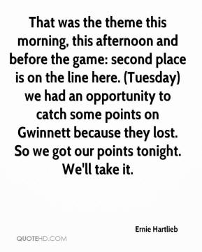 Ernie Hartlieb - That was the theme this morning, this afternoon and before the game: second place is on the line here. (Tuesday) we had an opportunity to catch some points on Gwinnett because they lost. So we got our points tonight. We'll take it.