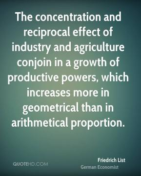 The concentration and reciprocal effect of industry and agriculture conjoin in a growth of productive powers, which increases more in geometrical than in arithmetical proportion.