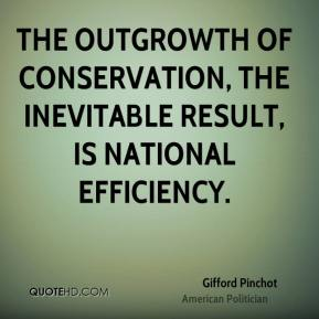 Gifford Pinchot - The outgrowth of conservation, the inevitable result, is national efficiency.
