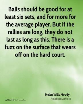 Balls should be good for at least six sets, and for more for the average player. But if the rallies are long, they do not last as long as this. There is a fuzz on the surface that wears off on the hard court.
