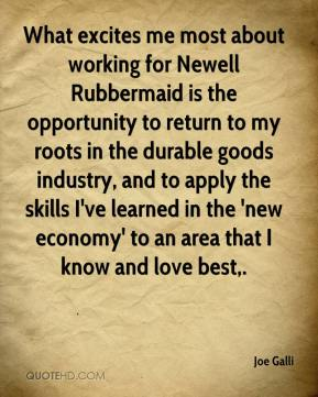 What excites me most about working for Newell Rubbermaid is the opportunity to return to my roots in the durable goods industry, and to apply the skills I've learned in the 'new economy' to an area that I know and love best.