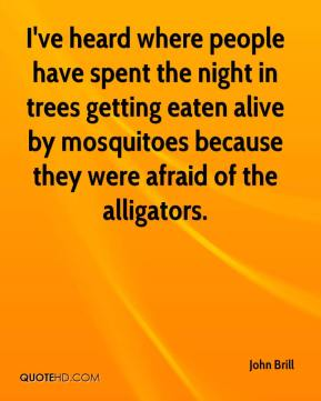 John Brill  - I've heard where people have spent the night in trees getting eaten alive by mosquitoes because they were afraid of the alligators.