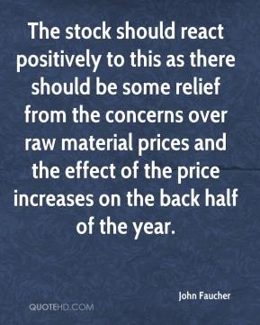 The stock should react positively to this as there should be some relief from the concerns over raw material prices and the effect of the price increases on the back half of the year.