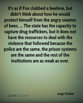 Jorge Chabat  - It's as if Fox clubbed a beehive, but didn't think about how he would protect himself from the angry swarms of bees, ... The state has the capacity to capture drug traffickers, but it does not have the resources to deal with the violence that followed because the police are the same, the prison systems are the same and the rest of the institutions are as weak as ever.