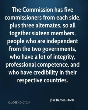Jose Ramos-Horta - The Commission has five commissioners from each side, plus three alternates, so all together sixteen members, people who are independent from the two governments, who have a lot of integrity, professional competence, and who have credibility in their respective countries.