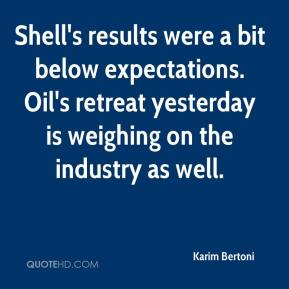 Karim Bertoni  - Shell's results were a bit below expectations. Oil's retreat yesterday is weighing on the industry as well.