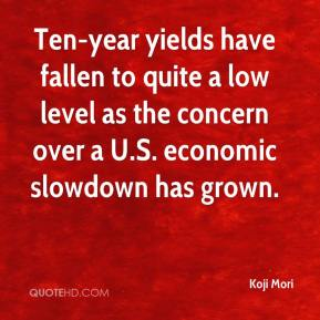 Koji Mori  - Ten-year yields have fallen to quite a low level as the concern over a U.S. economic slowdown has grown.