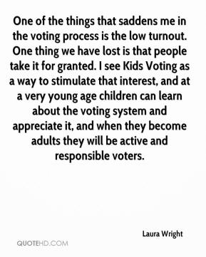 Laura Wright  - One of the things that saddens me in the voting process is the low turnout. One thing we have lost is that people take it for granted. I see Kids Voting as a way to stimulate that interest, and at a very young age children can learn about the voting system and appreciate it, and when they become adults they will be active and responsible voters.