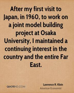 After my first visit to Japan, in 1960, to work on a joint model building project at Osaka University, I maintained a continuing interest in the country and the entire Far East.