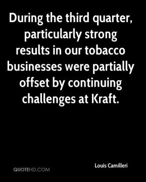 Louis Camilleri  - During the third quarter, particularly strong results in our tobacco businesses were partially offset by continuing challenges at Kraft.