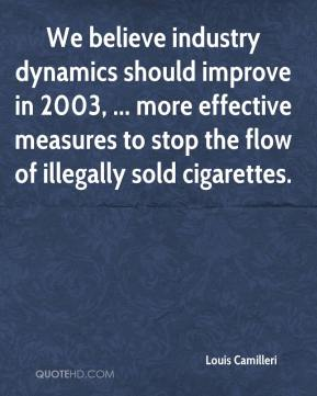 Louis Camilleri  - We believe industry dynamics should improve in 2003, ... more effective measures to stop the flow of illegally sold cigarettes.