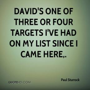 Paul Sturrock  - David's one of three or four targets I've had on my list since I came here.