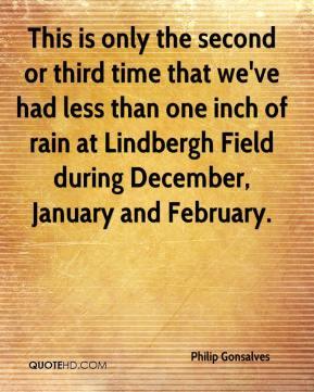 This is only the second or third time that we've had less than one inch of rain at Lindbergh Field during December, January and February.