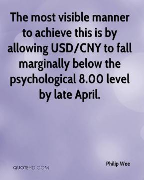 Philip Wee  - The most visible manner to achieve this is by allowing USD/CNY to fall marginally below the psychological 8.00 level by late April.