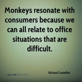 Richard Castellini  - Monkeys resonate with consumers because we can all relate to office situations that are difficult.