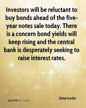 Shinji Kunibe  - Investors will be reluctant to buy bonds ahead of the five-year notes sale today. There is a concern bond yields will keep rising and the central bank is desperately seeking to raise interest rates.