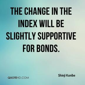 The change in the index will be slightly supportive for bonds.