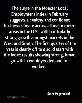 The surge in the Monster Local Employment Index in February suggests a healthy and confident business climate across all major metro areas in the U.S., with particularly strong growth amongst markets in the West and South. The first quarter of the year is clearly off to a solid start with the Index results showing strong, broad growth in employer demand for workers.