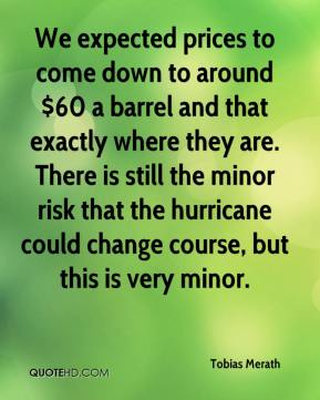 Tobias Merath  - We expected prices to come down to around $60 a barrel and that exactly where they are. There is still the minor risk that the hurricane could change course, but this is very minor.