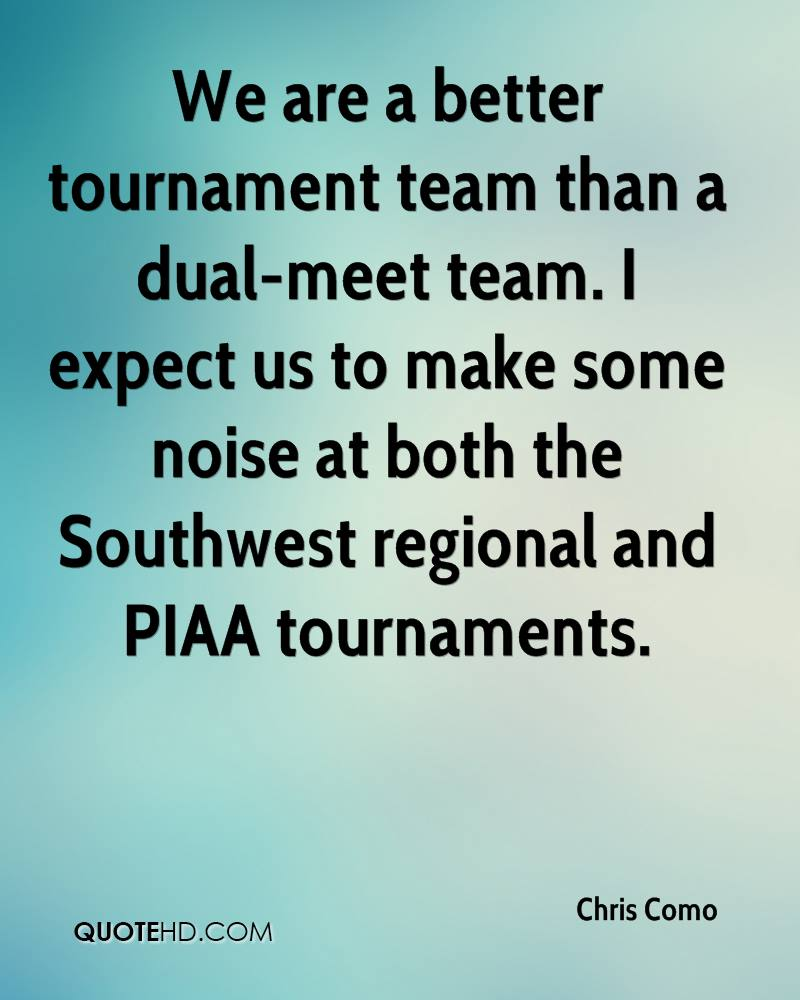 We are a better tournament team than a dual-meet team. I expect us to make some noise at both the Southwest regional and PIAA tournaments.