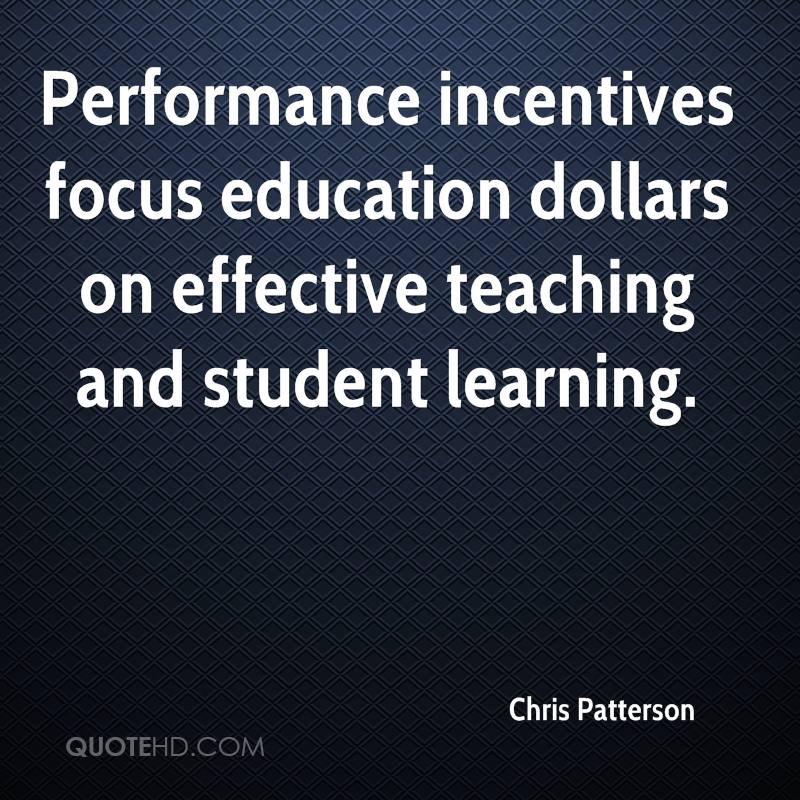 Performance incentives focus education dollars on effective teaching and student learning.