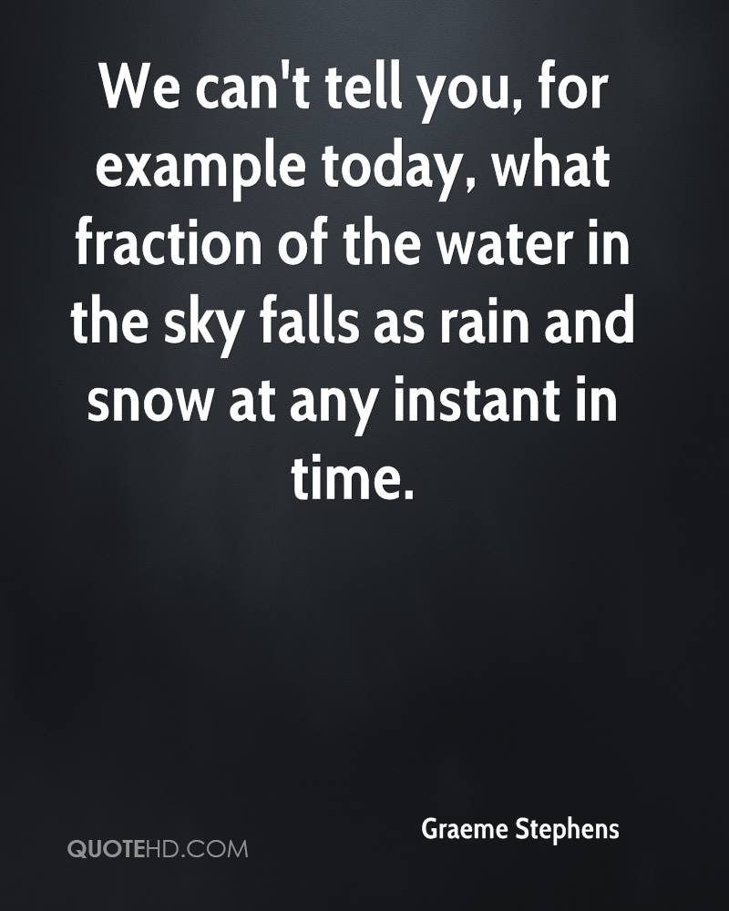 We can't tell you, for example today, what fraction of the water in the sky falls as rain and snow at any instant in time.