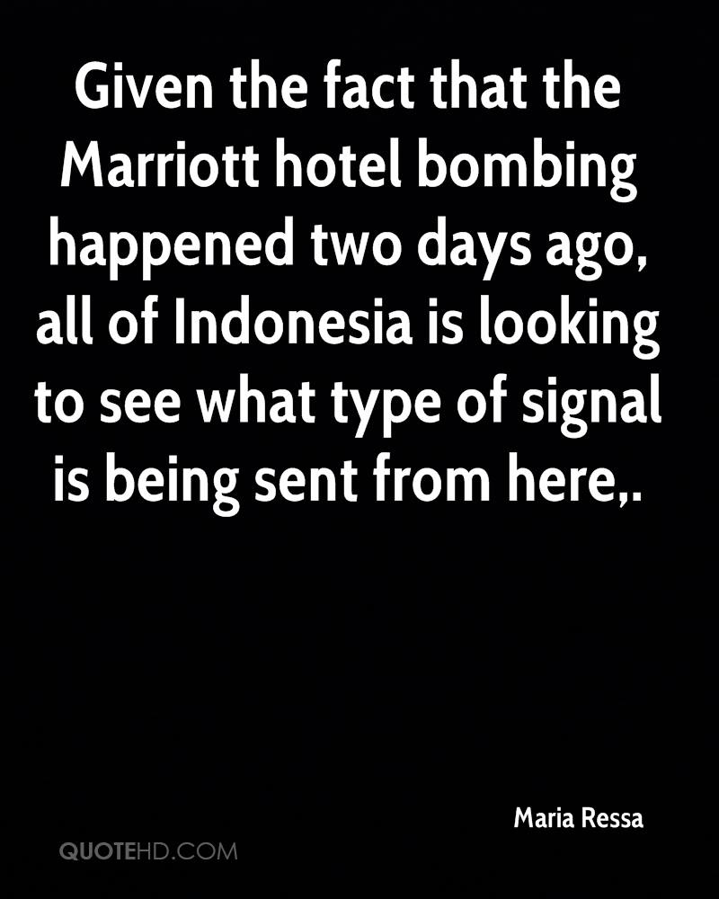 Given the fact that the Marriott hotel bombing happened two days ago, all of Indonesia is looking to see what type of signal is being sent from here.