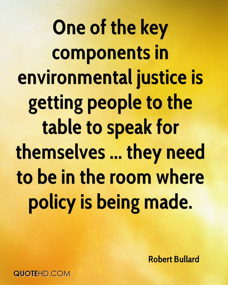 One of the key components in environmental justice is getting people to the table to speak for themselves ... they need to be in the room where policy is being made.