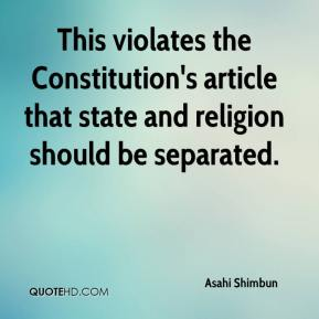 Asahi Shimbun - This violates the Constitution's article that state and religion should be separated.