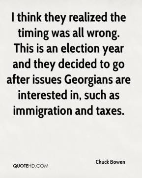 Chuck Bowen - I think they realized the timing was all wrong. This is an election year and they decided to go after issues Georgians are interested in, such as immigration and taxes.