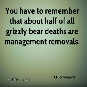 Chuck Schwartz - You have to remember that about half of all grizzly bear deaths are management removals.
