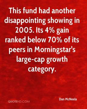 Dan McNeela - This fund had another disappointing showing in 2005. Its 4% gain ranked below 70% of its peers in Morningstar's large-cap growth category.