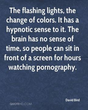 The flashing lights, the change of colors. It has a hypnotic sense to it. The brain has no sense of time, so people can sit in front of a screen for hours watching pornography.