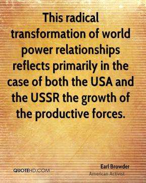 This radical transformation of world power relationships reflects primarily in the case of both the USA and the USSR the growth of the productive forces.