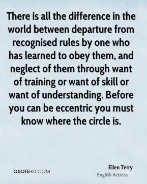 There is all the difference in the world between departure from recognised rules by one who has learned to obey them, and neglect of them through want of training or want of skill or want of understanding. Before you can be eccentric you must know where the circle is.