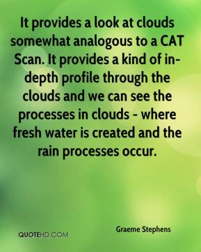 Graeme Stephens - It provides a look at clouds somewhat analogous to a CAT Scan. It provides a kind of in-depth profile through the clouds and we can see the processes in clouds - where fresh water is created and the rain processes occur.