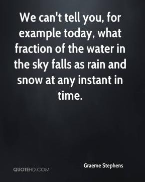 Graeme Stephens - We can't tell you, for example today, what fraction of the water in the sky falls as rain and snow at any instant in time.