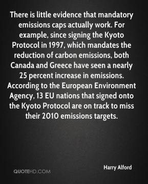 There is little evidence that mandatory emissions caps actually work. For example, since signing the Kyoto Protocol in 1997, which mandates the reduction of carbon emissions, both Canada and Greece have seen a nearly 25 percent increase in emissions. According to the European Environment Agency, 13 EU nations that signed onto the Kyoto Protocol are on track to miss their 2010 emissions targets.