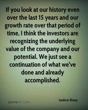 If you look at our history even over the last 15 years and our growth rate over that period of time, I think the investors are recognizing the underlying value of the company and our potential. We just see a continuation of what we've done and already accomplished.