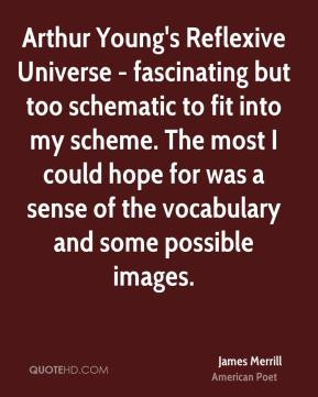 James Merrill - Arthur Young's Reflexive Universe - fascinating but too schematic to fit into my scheme. The most I could hope for was a sense of the vocabulary and some possible images.