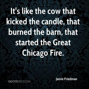 Jamie Friedman - It's like the cow that kicked the candle, that burned the barn, that started the Great Chicago Fire.