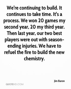 Jim Baron  - We're continuing to build. It continues to take time. It's a process. We won 20 games my second year, 20 my third year. Then last year, our two best players were out with season-ending injuries. We have to refuel the fire to build the new chemistry.